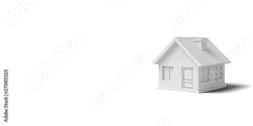 Photo White empty house on a yellow background abstract image