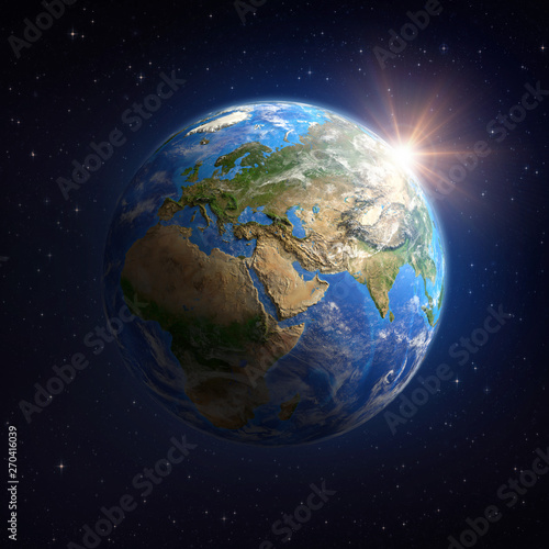 Obraz Sun shining over the Earth from space - fototapety do salonu