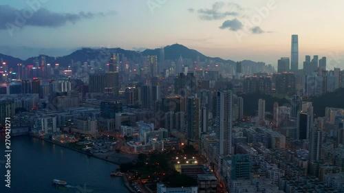 Top view of Hong Kong city downtown at night Slika na platnu