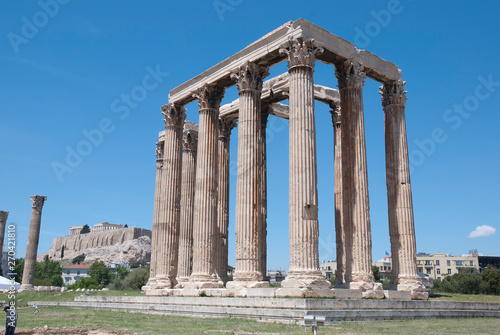 Photo  The ancient temple of Olympius Zeus or Olympion, near the Acropolis of Athens, Greece / May 2019