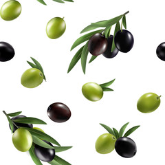 Panel Szklany Do kuchni Vector seamless pattern with ripe black and green olives on white. Background design for olive oil, natural cosmetics. Best for wrapping paper.