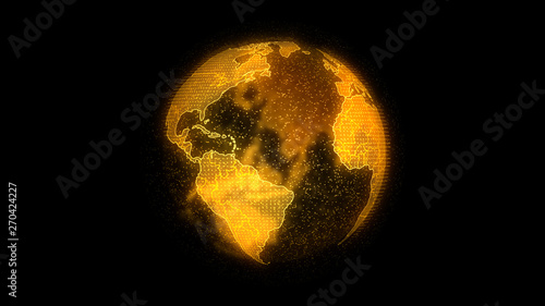 Fotografia  Planet Earth 3d render, futuristic hologram technology concept