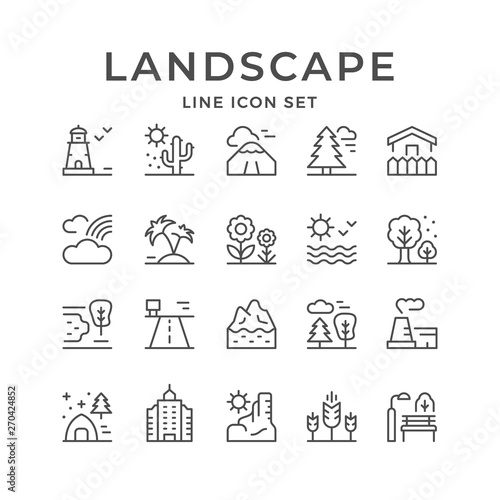 Set line outline icons of landscape Canvas Print