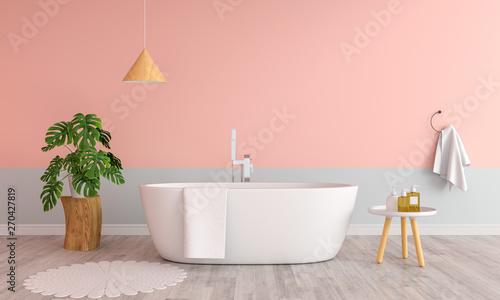 fototapeta na szkło Pink bathroom interior bathtub, 3D rendering