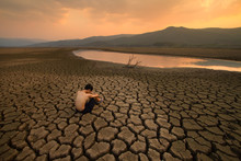 Water Crisis, Sad Children Sit...