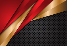 Abstract Red Gold Metallic Triangle On Grey Circle Mesh Design Modern Luxury Futuristic Background Vector Illustration.