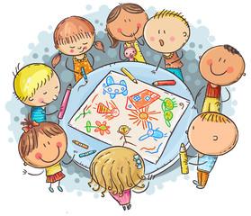 Doodle kids drawing together