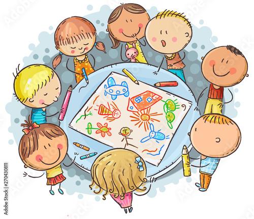 Doodle kids drawing together - 270430811
