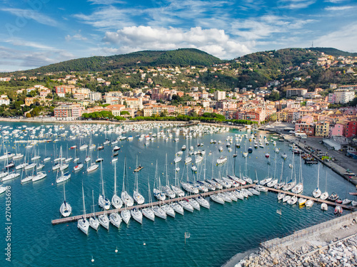 In de dag Schip Aerial view of small yachts and fishing boats in Lerici town, a part of the Italian Riviera, Italy.