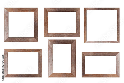 Fototapeta Set of Brown wood frame or photo frame isolated on white background. Object with clipping path obraz na płótnie