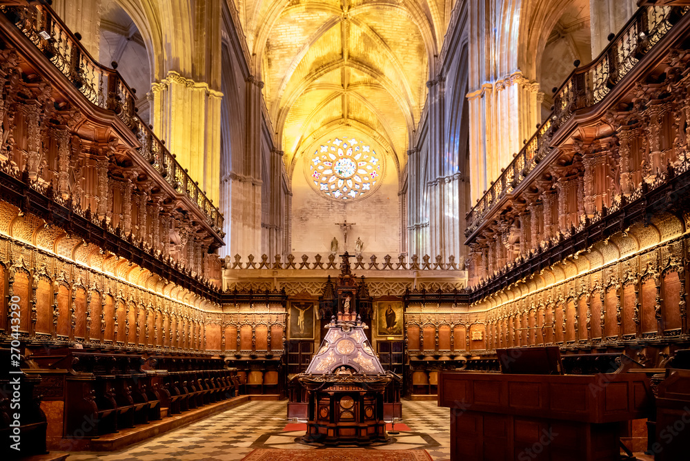 Fototapety, obrazy: SEVILLE, SPAIN: interior of the famous cathedral of Seville in Andalucia, declared a World Heritage Site is one of the largest Gothic cathedrals in the Western world