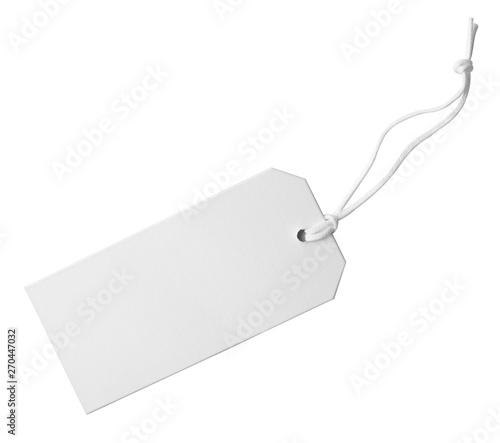 Fototapeta Cardboard tag with space for text on white background obraz