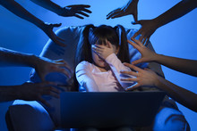 Strangers Reaching Frightened Little Child With Laptop On Color Background. Cyber Danger