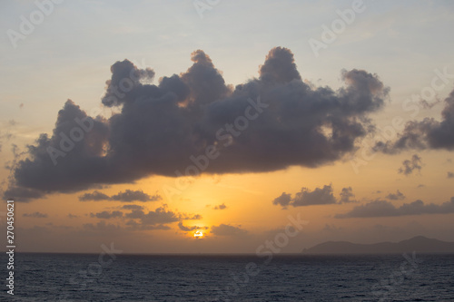 Photo Sunset over Caribbean sea Saint Vincent Antillas