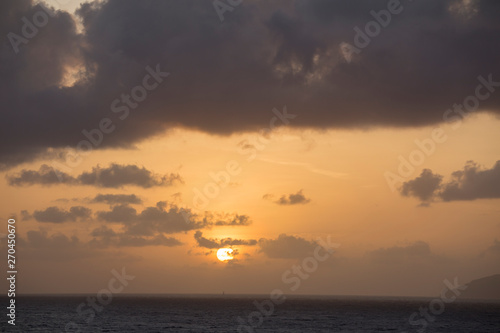 Sunset over Caribbean sea Saint Vincent Antillas Wallpaper Mural