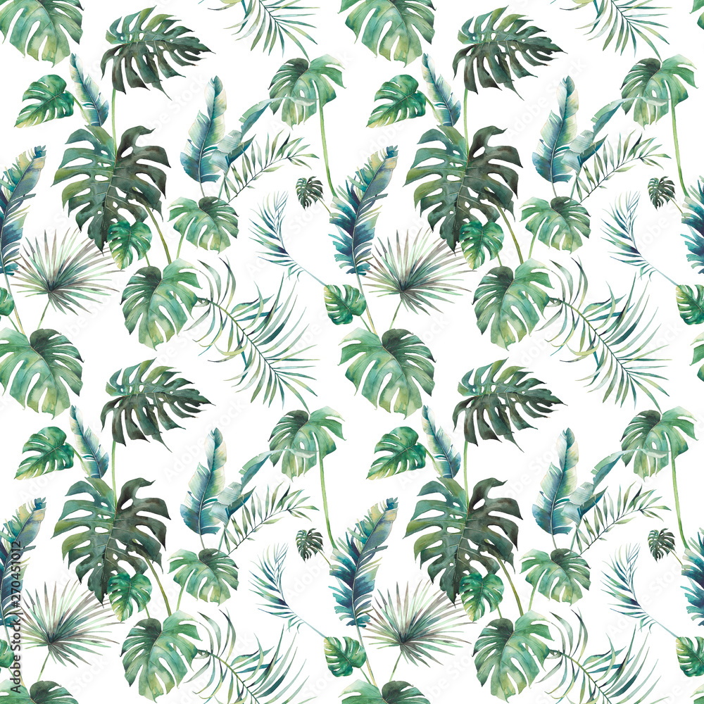 Fototapeta Watercolor tropical leaves surface design. Exotic monstera and palm green branches texture on white background. Summer plants seamless pattern