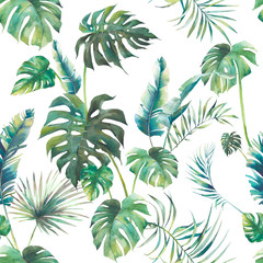 Fototapeta Malarstwo Summer palm tree, monstera and banana leaves seamless pattern. Watercolor green branches on white background. Hand drawn exotic wallpaper