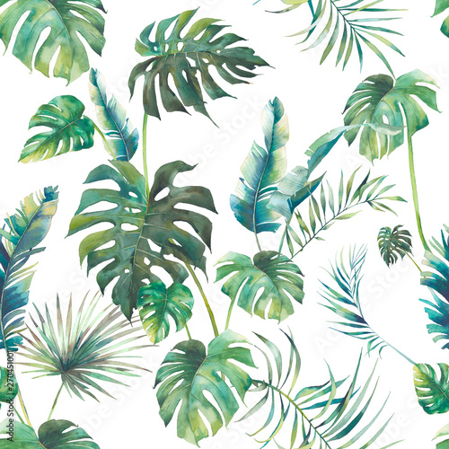 Summer palm tree, monstera and banana leaves seamless pattern. Watercolor green branches on white background. Hand drawn exotic wallpaper - fototapety na wymiar