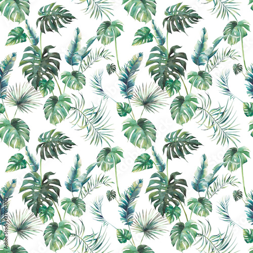 Obraz Watercolor tropical leaves surface design. Exotic monstera and palm green branches texture on white background. Summer plants seamless pattern - fototapety do salonu