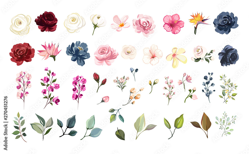 Fototapety, obrazy: Set of floral elements. Flower red, burgundy, navy blue rose, green leaves. Wedding concept - flowers. Floral poster, invite. Vector arrangements for greeting card or invitation design