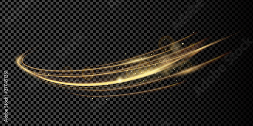 Foto auf AluDibond Abstrakte Welle Vector illustration of golden dynamick lights linze effect with sparcles isolated on transparent background. Abstract background for science, futuristic and energy technology concept. Digital image