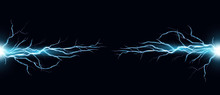 Vector Illustration Of Electric Discharge Shocked Effect On Black Background. Power Electrical Energy Concept, Lightning Effects In Realistic Style.
