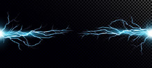 Vector Illustration Of Collision Of Two Forces With Blue Light.