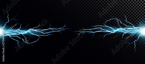 Photo  Vector illustration of collision of two forces with blue light.