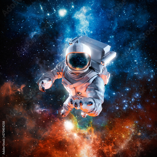 Valokuva I offer you the stars / 3D illustration of science fiction scene with astronaut