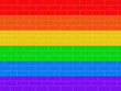 Leinwanddruck Bild - Brick wall colored in lgbt flag. Colorfull background. Illustration.