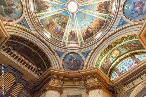 interior of the church of the monastery Stella Maris with stunning murals depict Canvas Print