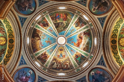 Photo interior of the church of the monastery Stella Maris with stunning murals depict