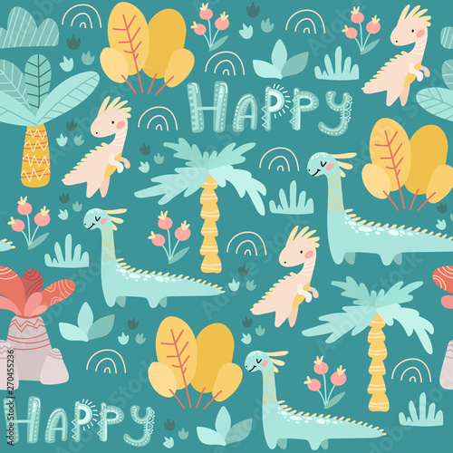 Canvas Prints Green coral Seamless pattern. Prehistoric period. Cartoon Scandinavian vector illustration. For children's fabrics, wallpaper, textiles. Cute childish ornament with dinosaurs, plants, flowers, nature on a blue ba
