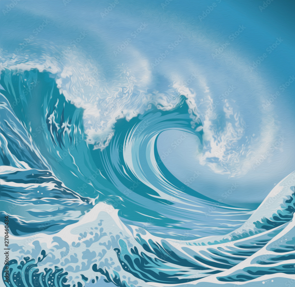 Ocean wave illustration oil painting style