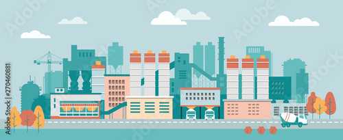 Foto op Canvas Lichtblauw Stock vector illustration of an industrial zone with chemical factories, plants, ironworks, warehouses, enterprises in the flat style