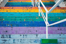 Stairs Painted In Rainbow Colo...