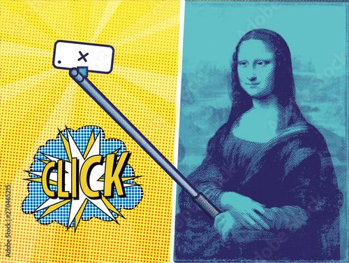 selfie stick Gioconda Canvas Print