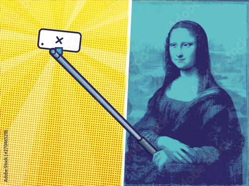 Cuadros en Lienzo selfie stick Gioconda