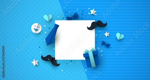 Fototapeta Fathers Day paper cut icon template background obraz na płótnie