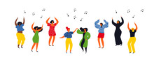 Women People Group Dancing On Isolated Background