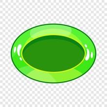 Oval Green Button Icon. Cartoon Illustration Of Oval Green Button Vector Icon For Web