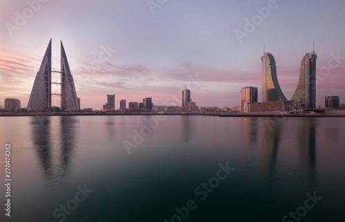 Bahrain Skyline during sunrise, a view from Bahrain bay Canvas Print