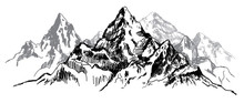 I Love The Mountains. Vector Freehand Drawing . Stocking Up For A Card , Poster