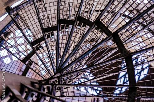 Aluminium Prints Train Station old, steel, rusty, circular staircase 3