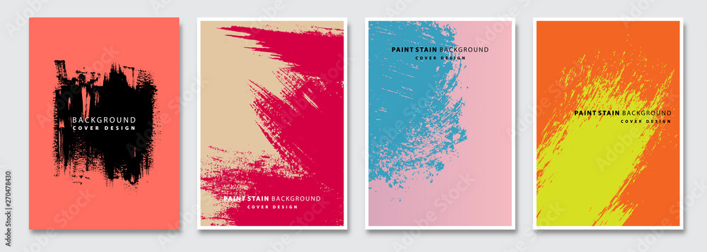 Fototapeta Book cover templates set, vector paint stain abstract background