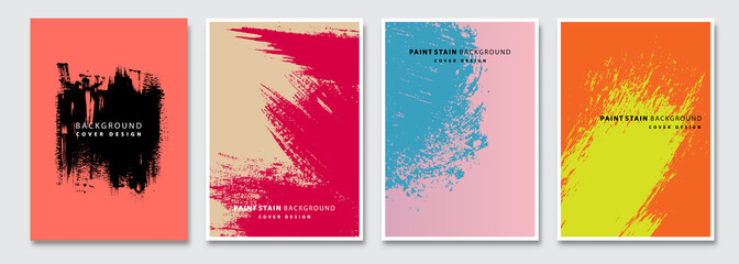 Book cover templates set, vector paint stain abstract background