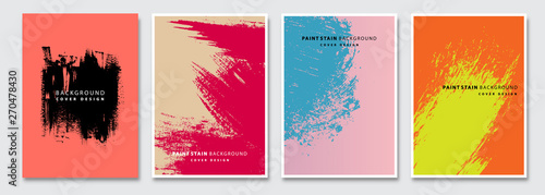 Fototapeta Book cover templates set, vector paint stain abstract background. Flyer, presentation, brochure, banner, poster design. obraz