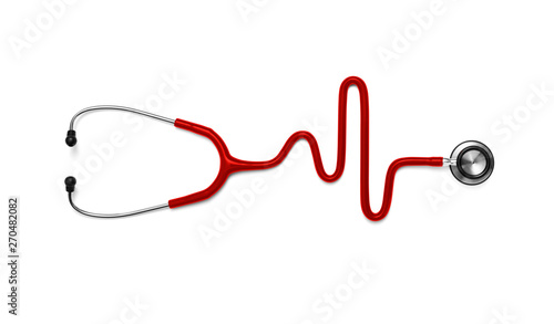 Fototapeta Stethoscope in the shape of a Heart Beat on a EKG obraz