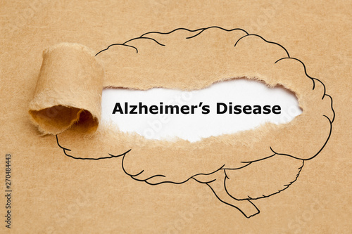Photo Alzheimers Disease Ripped Paper Concept