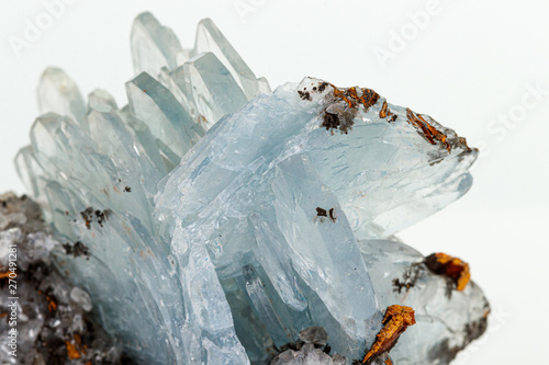 Macro stone Apatite mineral on white background Canvas Print